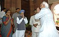Mohd. Hamid Ansari being welcomed by the Speaker, Lok Sabha, Smt. Meira Kumar and the Prime Minister, Dr. Manmohan Singh on his arrival at Parliament House to attend the Joint Session of the Parliament, in New Delhi.jpg