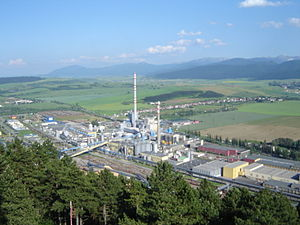 Pulp and paper industry - Paper mill Mondi in Ružomberok, Slovakia.
