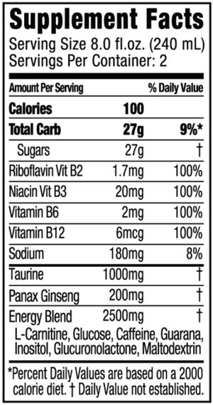 Energy drink - A Nutrition facts label for an energy drink.