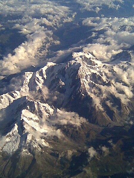 Berg Mont Blanc aus der Vogelperspektive