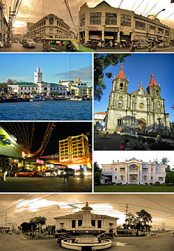 From top, left to right: Calle Real (Royal Street) – Iloilo City's historic city center,  The Customs House of Iloilo (Casa de Aduana de Iloilo) and Muelle Loney (Loney Dock), Saint Anne Church of Molo (Iglesia de Sta. Ana)   , Smallville Commercial Complex in Mandurriao District, Nelly Garden, and the Arroyo Fountain (Fuente Arroyo) and   (Casa Real de Iloilo)  Iloilo Royal House - The Old Iloilo Provincial  Capitol