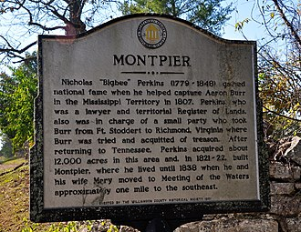 Montpier - The Williamson County Historical Marker for Montpier.