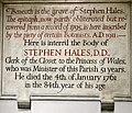 Monument for Stephen Hales, d 1761 at St Mary's church, Teddington.jpg