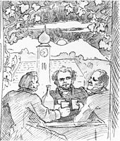 Franz Lachner (links), Franz Schubert und Bauernfeld (rechts) beim Heurigen (Skizze von Moritz von Schwind, 1862) (Quelle: Wikimedia)