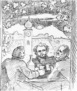Frauen-Liebe und Leben - Franz Lachner (l.) with Schubert (centre) and Eduard von Bauernfeld at a heuriger in Grinzing