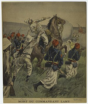 Amédée-François Lamy - French newspaper view of the death of Lamy, surrounded by Tiraileurs Sénégalais troops.
