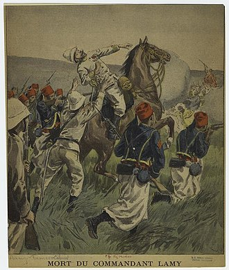 Battle of Kousséri - French newspaper view of the death of Lamy, surrounded by Senegalese Tirailleurs.