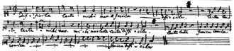 """Mozart and scatology - Reproduction of the original manuscript of Mozart's canon """"Difficile lectu"""". The words """"lectu mihi mars"""" were intended to be heard as """"Leck du mich im Arsch"""" (""""lick my arse""""), a phrase commonly used in Mozart's family circle."""