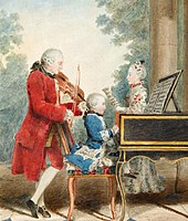 A man in a long red coat, knee-britches and white stockings is playing a violin. A small child dressed in blue sits at the piano or harpsichord. A young woman faces them, holding a sheet of music. In the background there are trees and a pale sky.