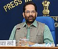 Mukhtar Abbas Naqvi addressing a press conference on the achievements of the Ministry of Minority Affairs, during 3 years of NDA Government, in New Delhi.jpg