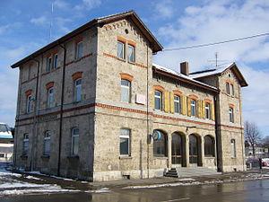 Royal Württemberg State Railways - K.W.St.E. station building K.W.St.E. in Munderkingen on the Danube Valley line