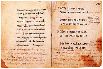 Muspilli - Parts of the Muspilli at the bottom of a page of the manuscript once in the possession of Louis the German