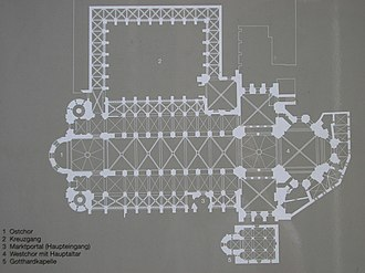 Mainz Cathedral - Present-day floor plan of the cathedral (↑S)
