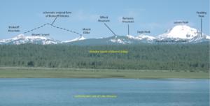 Mount Tehama - Former extent of Brokeoff Volcano