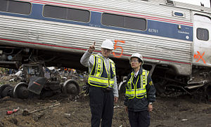 National Transportation Safety Board - NTSB investigators on-scene at the 2015 Philadelphia train derailment