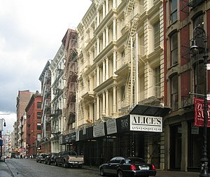 Cast-iron architecture - A street in SoHo in New York City showing a number of nineteenth century industrial structures with cast-iron facades.