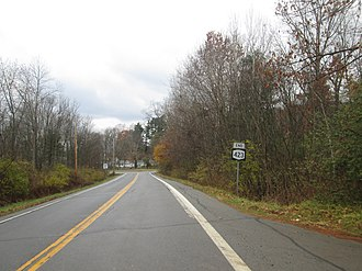 New York State Route 423 - NY 423 approaching NY 9P in Stillwater