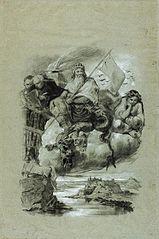 Krakus siedzący na zabitym smoku