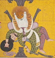 Narasimha Disemboweling Hiranyakashipu, Folio from a Bhagavata Purana (Ancient Stories of the Lord) LACMA M.82.42.8 (4 of 5).jpg