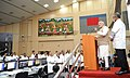 Narendra Modi addressing at the Mission Control Centre after the successful launch of PSLV - C 23, at Sriharikota, in Andhra Pradesh on June 30, 2014. The ISRO Chairman, Dr. K Radhakrishnan is also seen.jpg