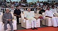 Narendra Modi with the Governor of Tamil Nadu, Shri Banwarilal Purohit and the Chief Minister of Tamil Nadu, Shri Edappadi K. Palaniswami at the inauguration ceremony of the DefExpo India - 2018, at Mahabalipuram, Tamil Nadu.jpg