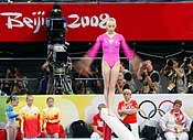 Liukin performing on the balance beam at the 2008 Olympics.