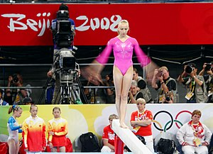 Nastia Liukin - Liukin performing on the balance beam at the 2008 Olympics.