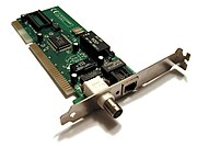 A 1990s Ethernet network interface card. This is a combination card that supports both coaxial-based using a 10BASE2 (BNC connector, left) and twisted pair-based 10BASE-T, using a RJ45 (8P8C modular connector, right).