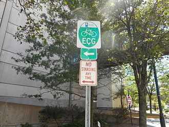 East Coast Greenway - East Coast Greenway bicycle sign between New Rock City and Trump Plaza in downtown New Rochelle, New York