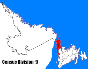Division No. 9, Newfoundland and Labrador - Image: Newfoundland and Labrador Census Division No. 9 location