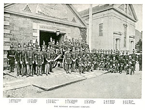 Artillery Company of Newport - The Newport Artillery Company in 1891 in front of the Armory before the fire and addition of a second story