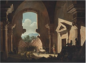Niccolò Codazzi - Shepherds and their flock, soldiers and a draughtsman inside ancient ruins