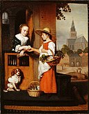 Nicolaes Maes - A Young Woman Selling Vegetables at the Door.jpg