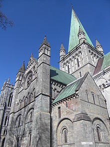 Cathedral exterior against a brilliant blue sky