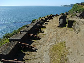 Coastal defence and fortification - Cannons of the Valdivian Fort System in Niebla, Chile, an example of a coastal defense.