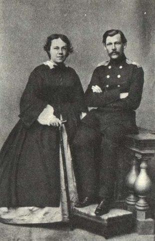 Николай Шелгунов с женой, 1861