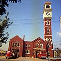 No. 8 Firehall, one year before fire, showing old building with clock (4547149978) (cropped).jpg