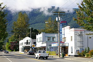 Washington State Route 202 - Looking eastbound on SR 202 in downtown North Bend from the historic North Bend Theatre