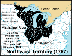 Indian barrier state - Old Northwest; the 1792 version included a strip along New York's northern border