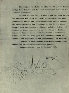 Abdication of Wilhelm II The actual declaration.