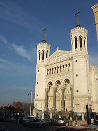 The basilica Notre-Dame de Fourvière, which overlooks the city.