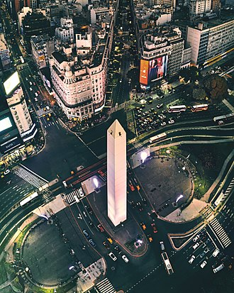 Obelisco de Buenos Aires - Aerial view of the Obelisco in 2018