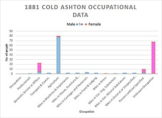 Cold Ashton - Occupational data of Cold Ashton as of 1881, as shown by Vision of Britain.