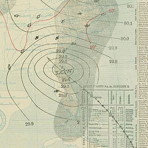 1898 Georgia hurricane - Image: October 2, 1898 hurricane 7 map