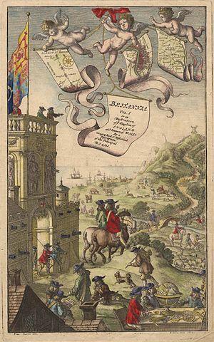 Francis Barlow (artist) - Image: Ogilby Britannia Frontispiece Vol I (1675)