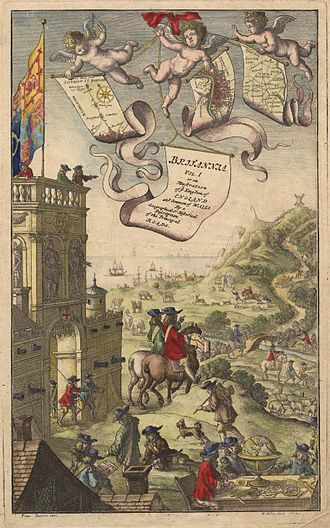 Francis Barlow (artist) - Frontispiece: Ogilby's Britannia, Vol. I (1675)