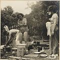 Olive Cotton and unidentified woman washing dishes from Camping trips on Culburra Beach by Max Dupain and Olive Cotton (12825216625).jpg
