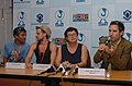 Oliver Paulus, the Film producer Mr. Valerie Fischer and the actor, Mr. Matin Schick are at the press briefing , during the 39th International Film Festival (IFFI-2008) in Panaji, Goa on November 25, 2008.jpg