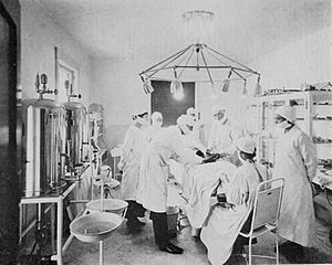 John R. Brinkley - Operating room at the Brinkley Hospital, Milford