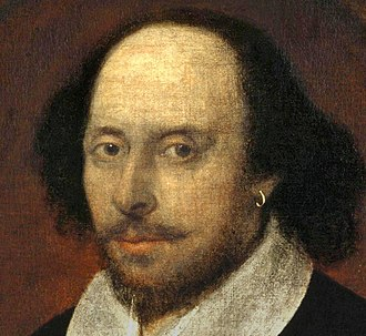 Earring - Detail from Chandos portrait (1660s) of William Shakespeare; earrings were emblematic of poets at the time.